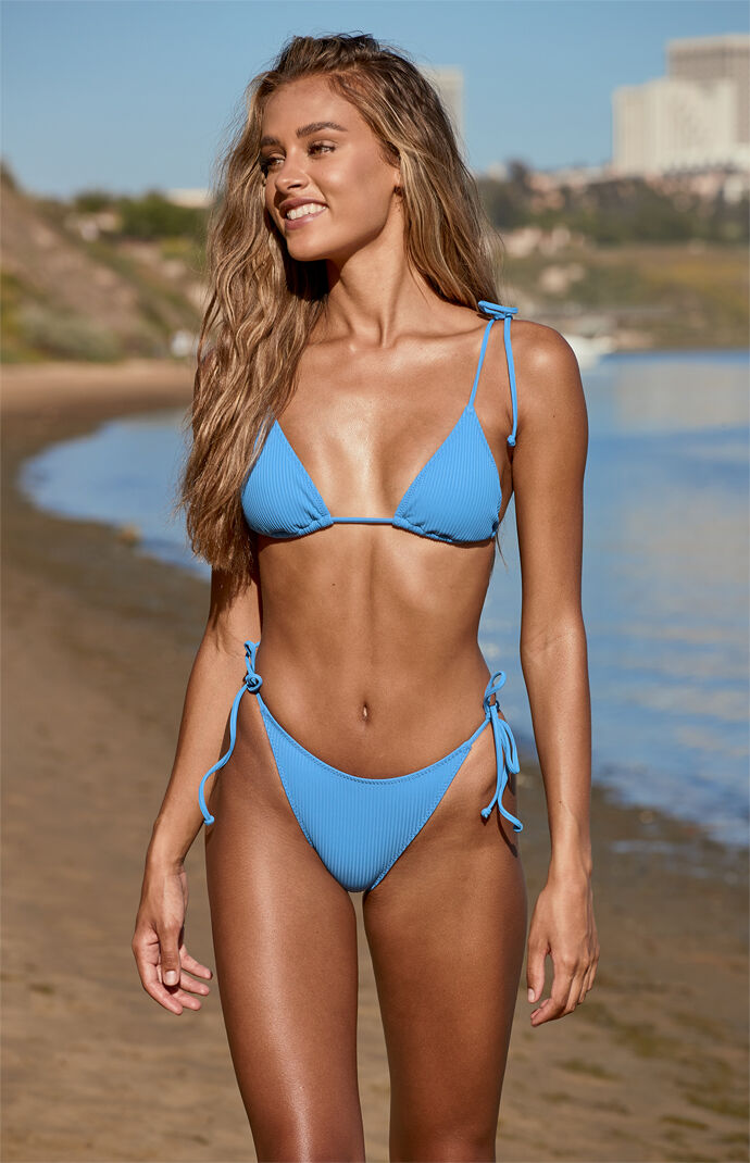 Medium Blue Playa Side Tie Bikini Bottom