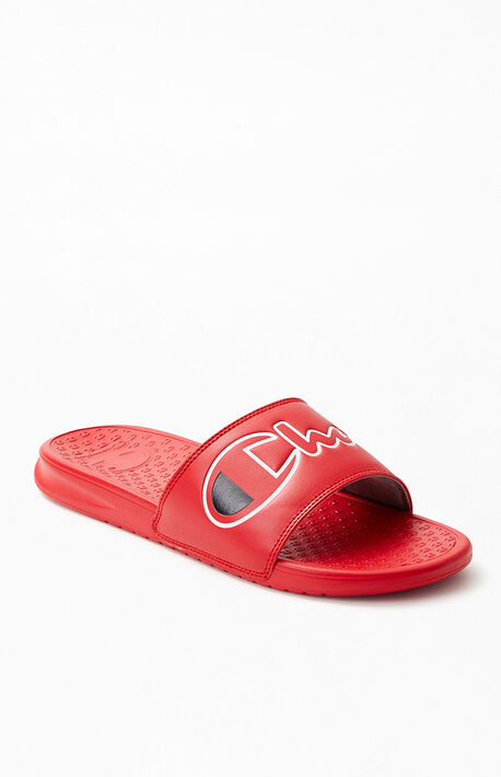 33bab0de12a Red Super Split Script Slide Sandals