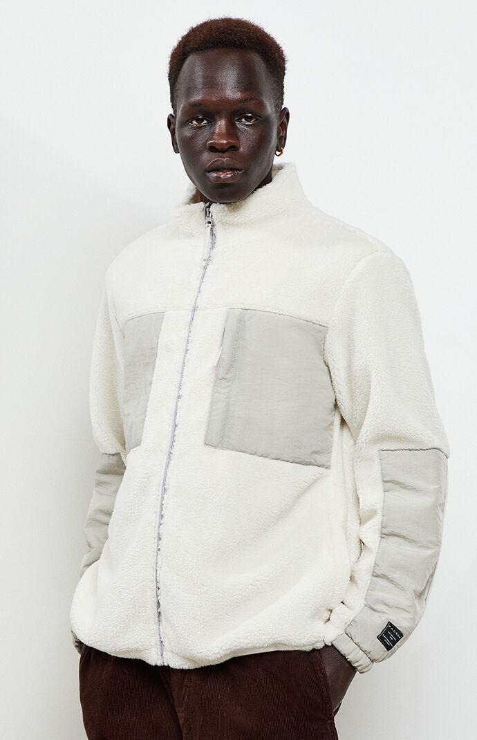 White & Gray Zip-Up Sherpa Jacket