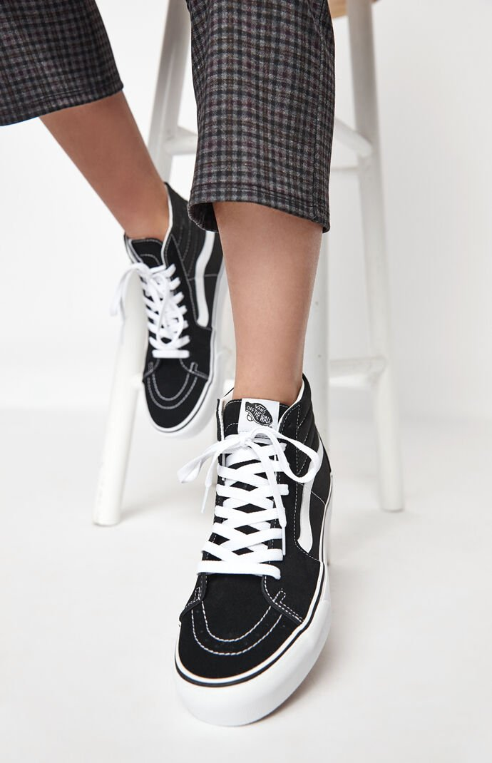 Women's Black & White Sk8-Hi Platform Sneakers