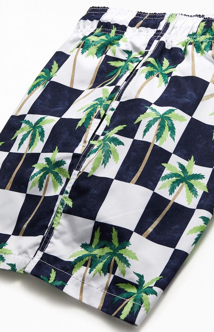 """Checker Palm 17"""" Swim Trunks"""