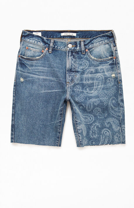 Medium Wash Paisley Denim Shorts