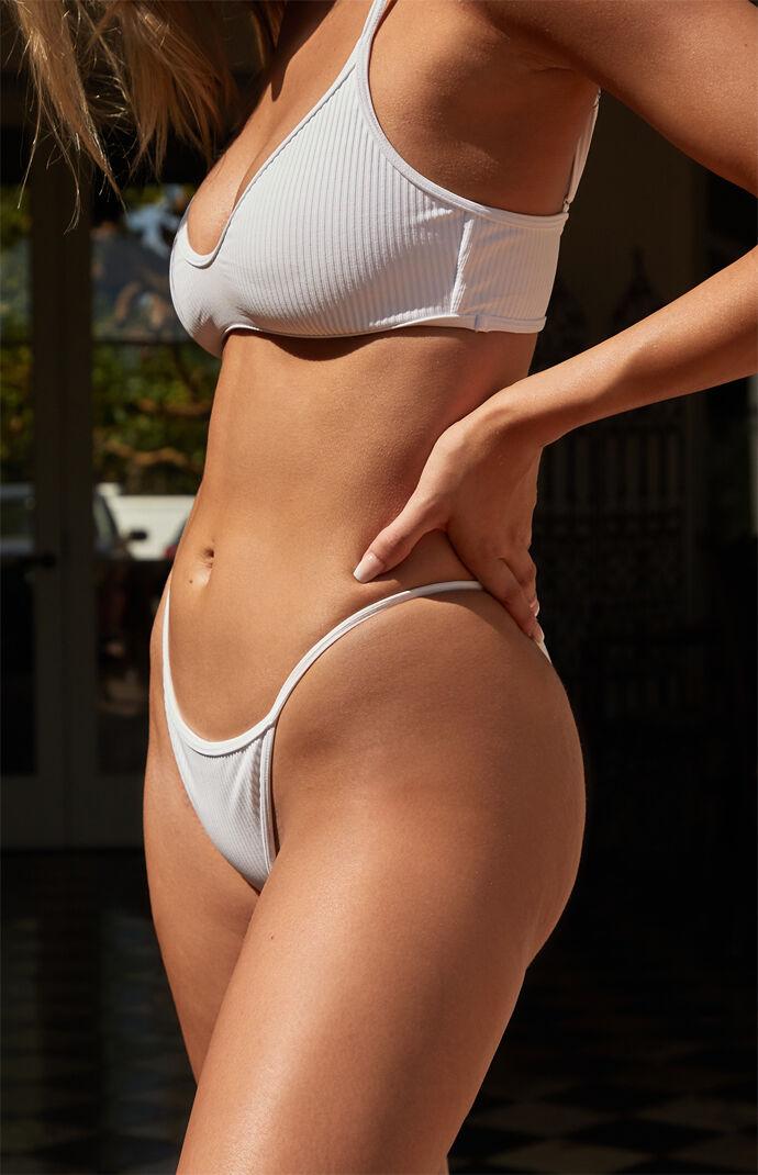 White Madi Binded Ribbed Bikini Bottom