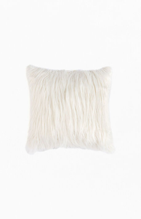 Ivory Square Shag Throw Pillow