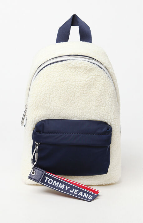 Logo Taped Sherpa Mini Backpack