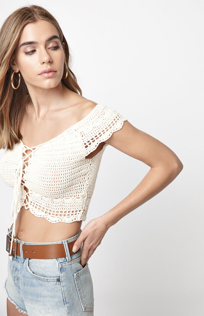 Off The Shoulder Crochet Sweater Top by La Hearts