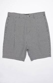 Pleated Houndstooth Chino Shorts