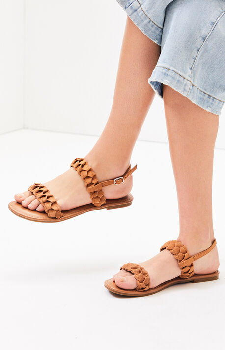 e1c7e4da91df Cognac Braided Two Strap Sandals