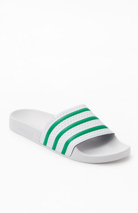 White & Green Adilette Slide Sandals