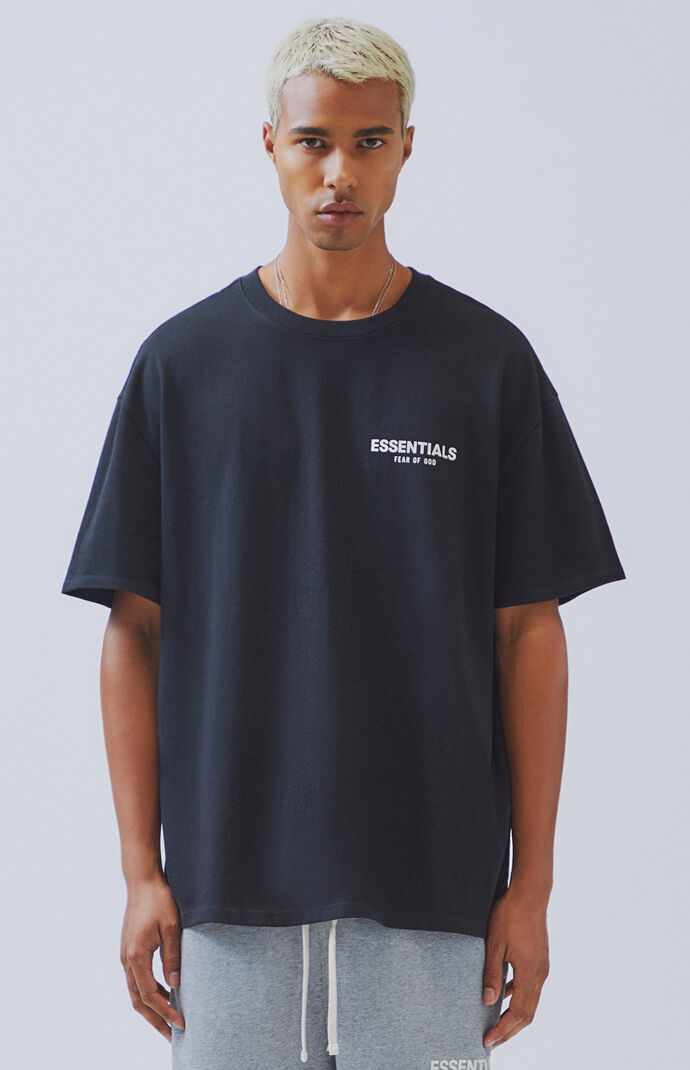 91b087ee3 FOG - Fear Of God Essentials Black Boxy Logo T-Shirt | PacSun