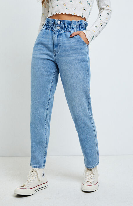Iris Blue Paperbag Mom Jeans