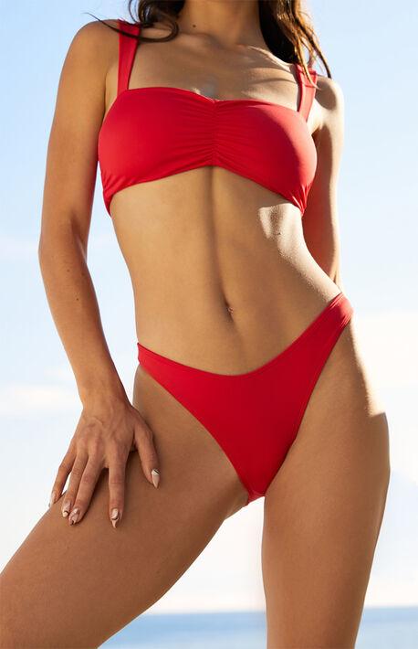 Red Crystal Cheeky Bikini Bottom