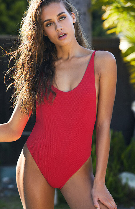 e67e34adcb9 Red Low Back One Piece Swimsuit