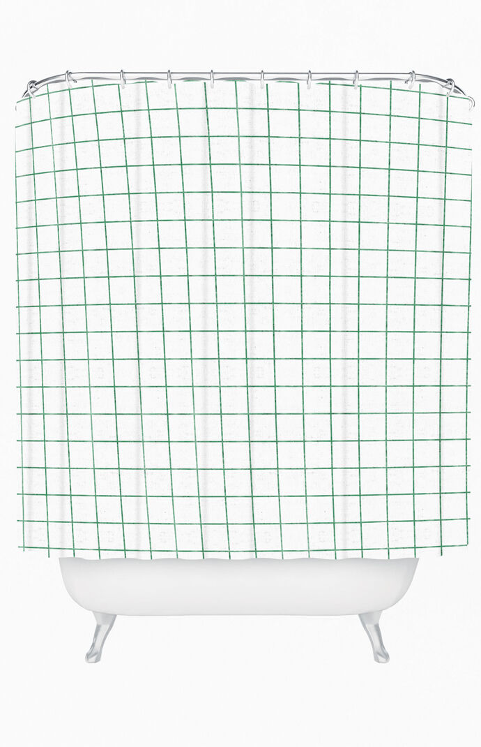French Linen Grid Emerald Shower Curtain