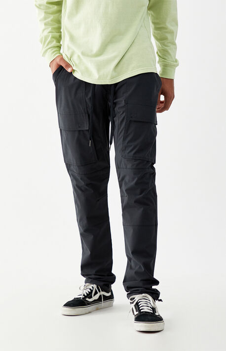 Utility Black Nylon Slim Cargo Pants