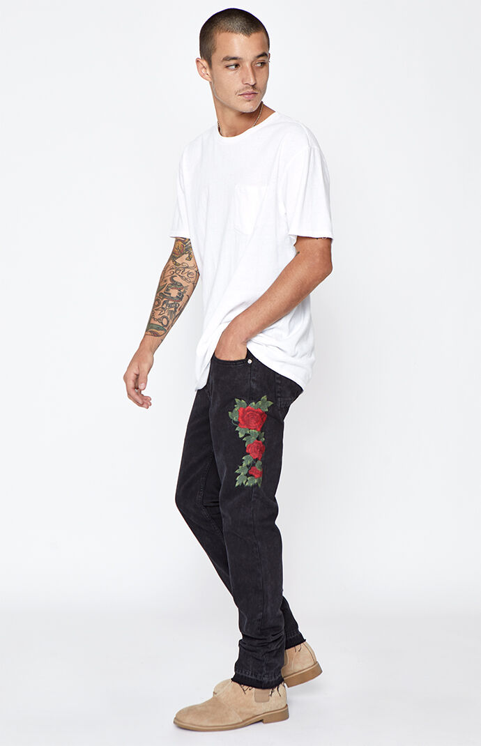 PacSun Skinny Comfort Stretch Rose Embroidered Black Jeans ...