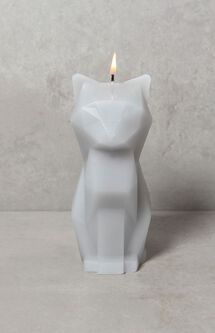Gray Kisa Cat Candle