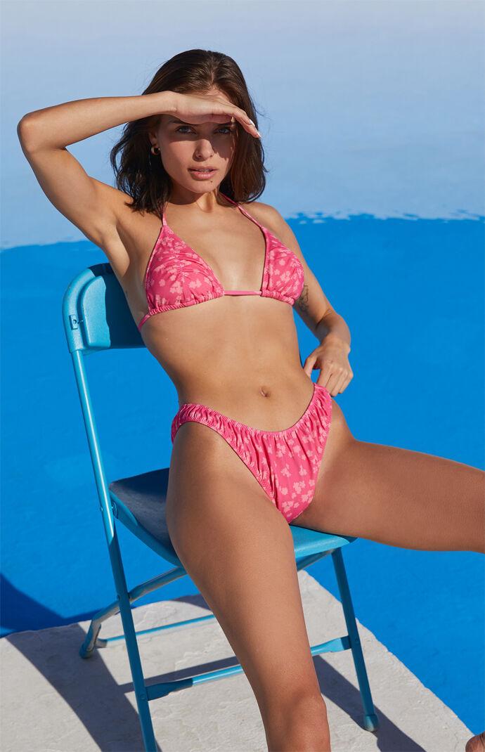 Pink Camila Ruched Triangle Bikini Top