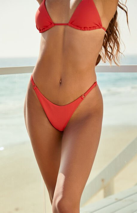 Red Alanna Ribbed Bikini Bottom