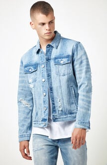 Classic Destroyed Light Denim Trucker Jacket