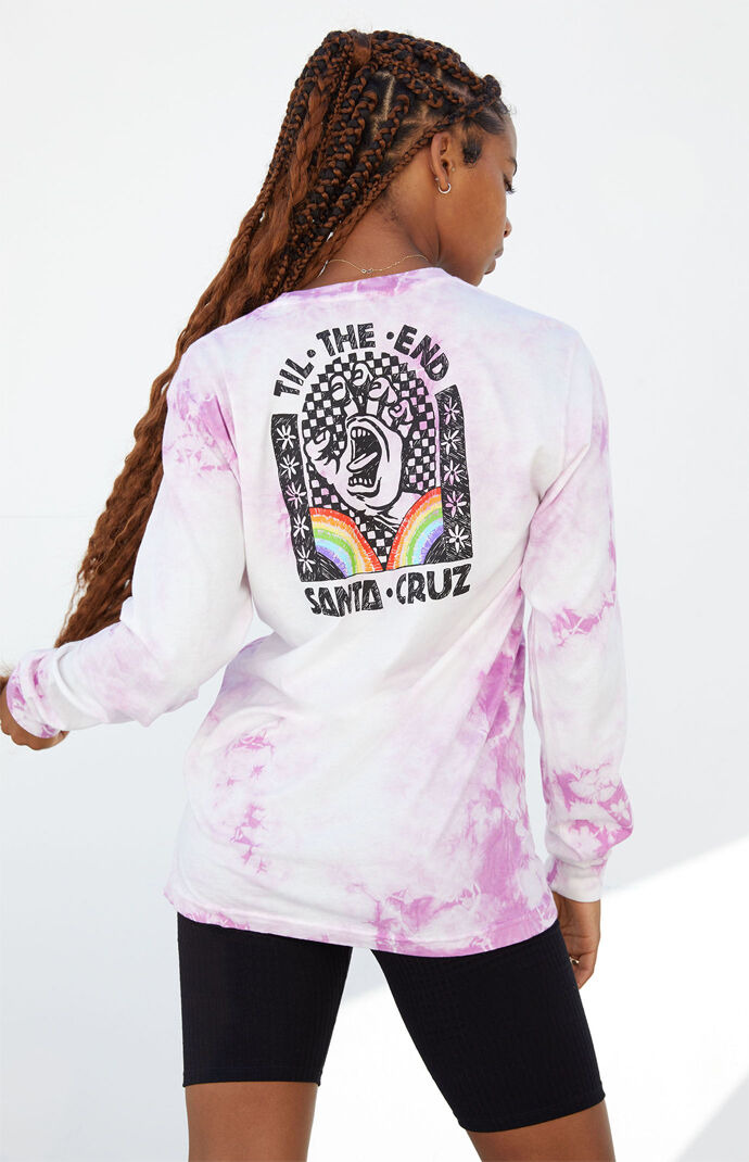 Tie-Dyed Hand Mural Long Sleeve Boyfriend T-Shirt