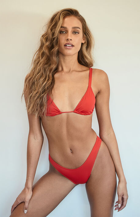 Red Erica Triangle Bikini Top
