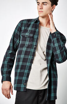 Flanigan Plaid Flannel Long Sleeve Button Up Shirt