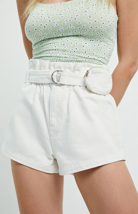 Pouch White Paperbag Waist Denim Mom Shorts
