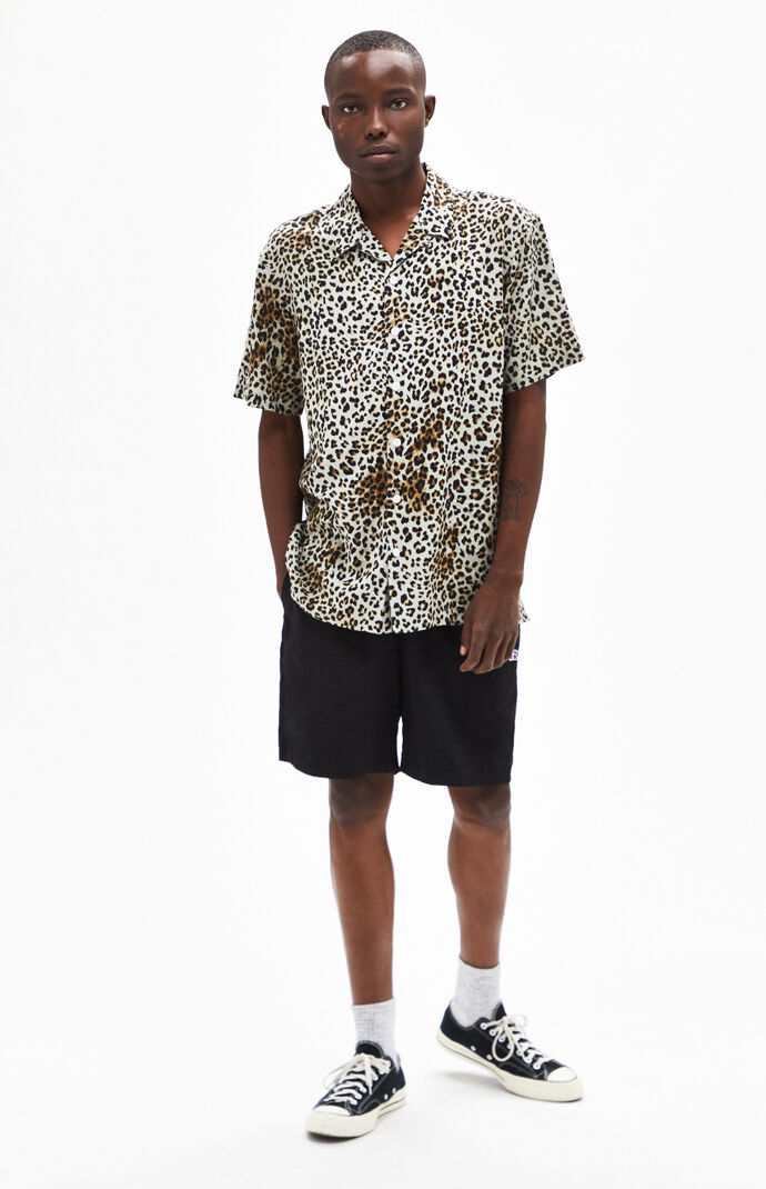 Leopard Short Sleeve Button Up Shirt