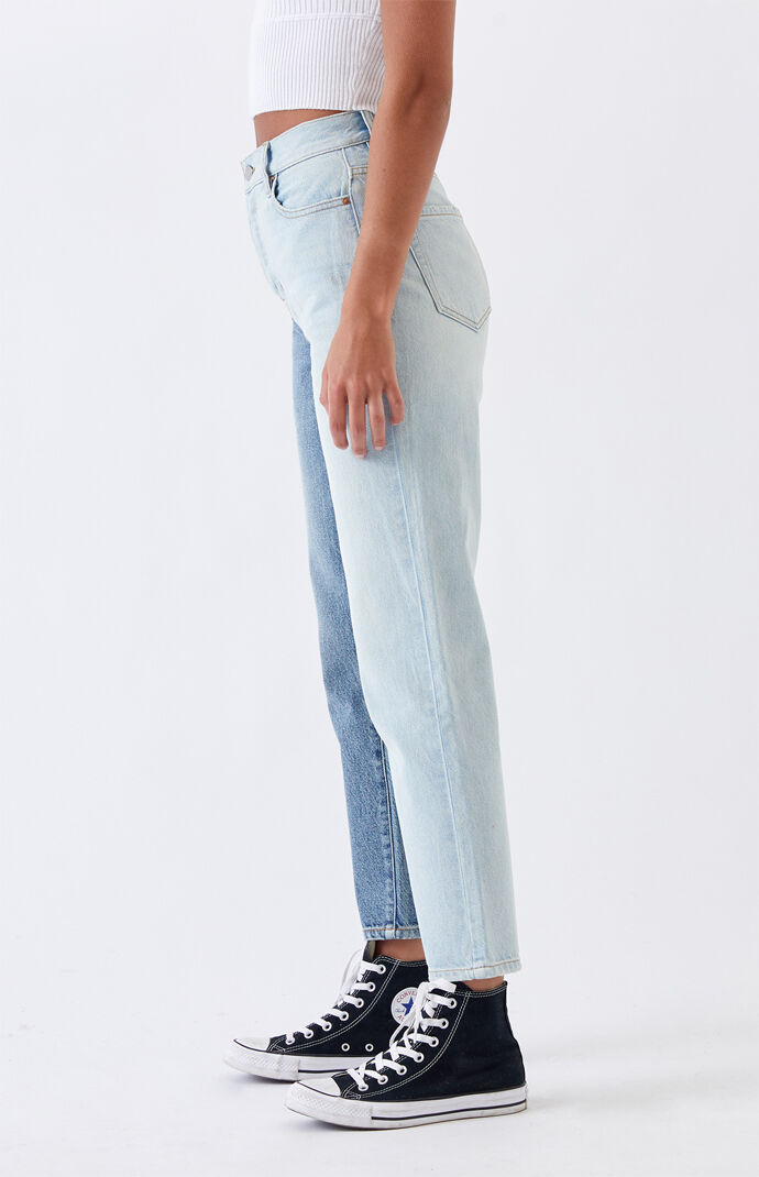 Two Piece High Waisted Straight Leg Jeans