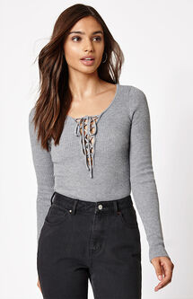 Long Sleeve Lace-Up Sweater Top
