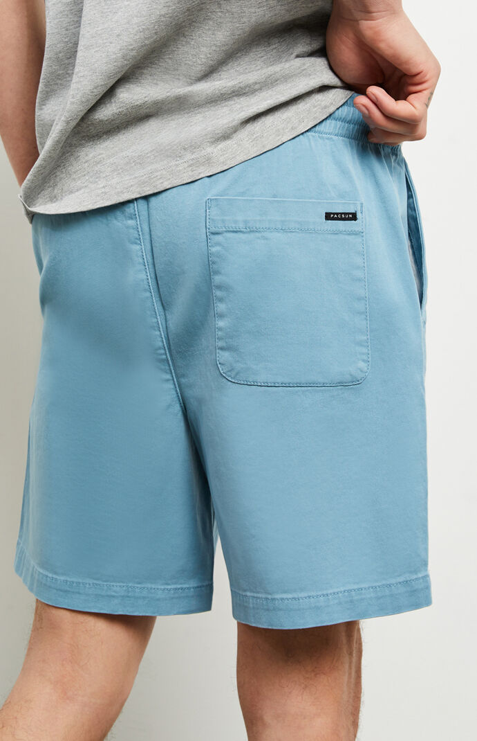Blue Stretch Twill Volley Shorts