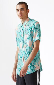 Vice Palm Short Sleeve Button Up Camp Shirt