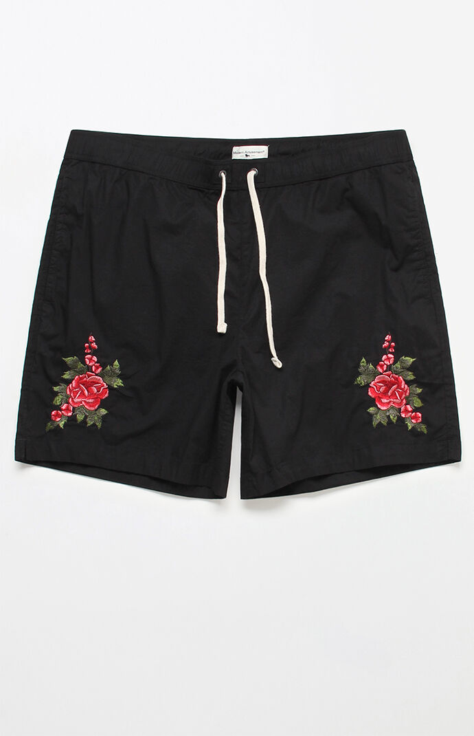 "Hard Rose 17"" Swim Trunks by Modern Amusement"