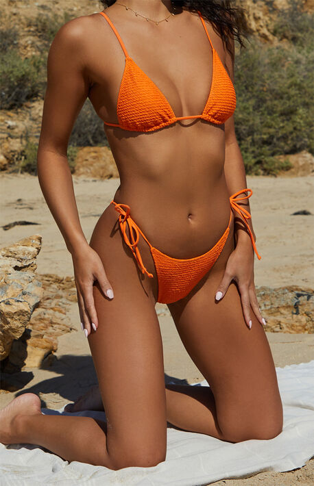 Eco Orange Kinga Scrunch Side Tie Bikini Bottom