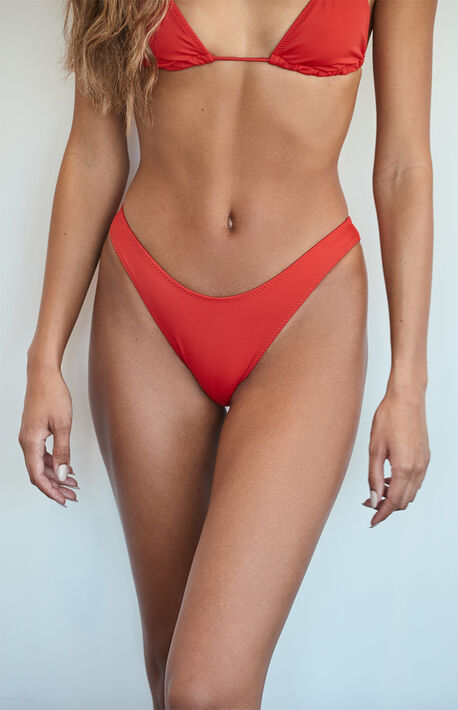 Red Erica Sporty High Hip Bikini Bottom