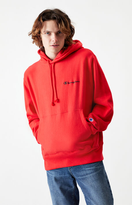 Script Embroidered Reverse Weave Pullover Hoodie