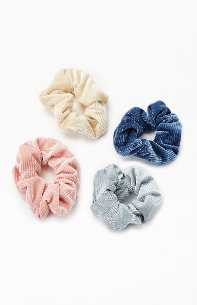 4 Pack Cord Velvet Scrunchies