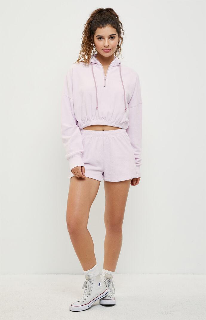 Dana Terry Cropped Half-Zip Sweatshirt