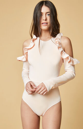 Cold Shoulder Frill Trim Bodysuit