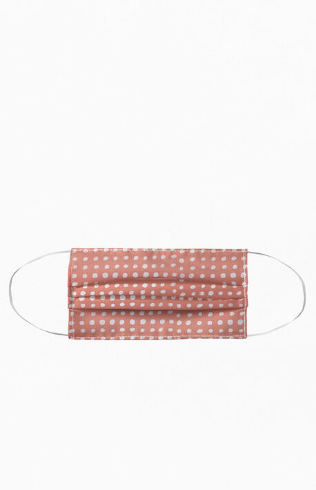 Peach Scribble Dots Face Mask