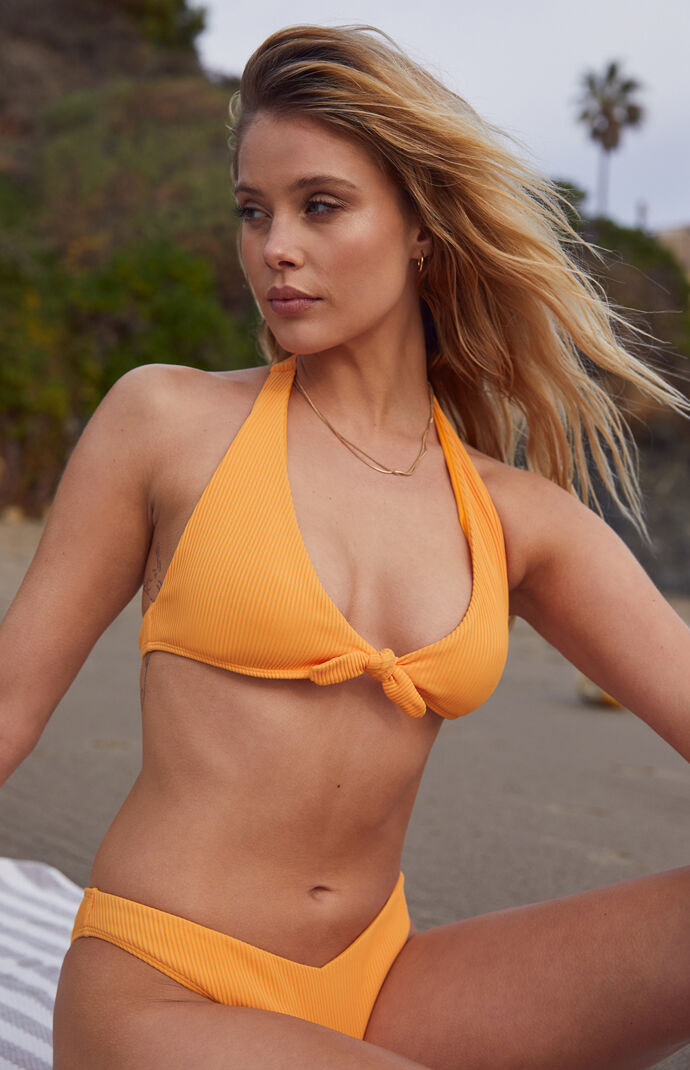 Orange River Tie Front Bikini Top
