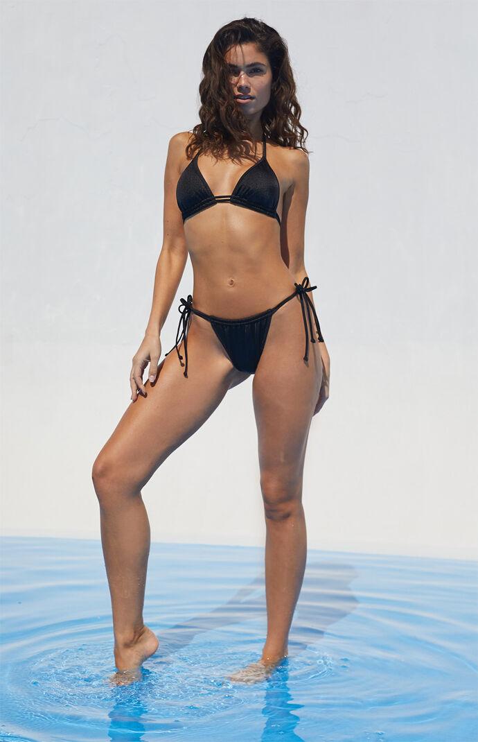 Black Savannah Double Side Tie Bikini Bottom