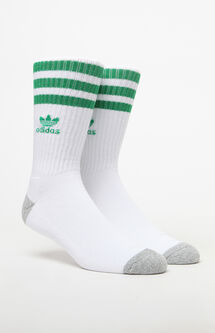 Roller White & Green Crew Socks