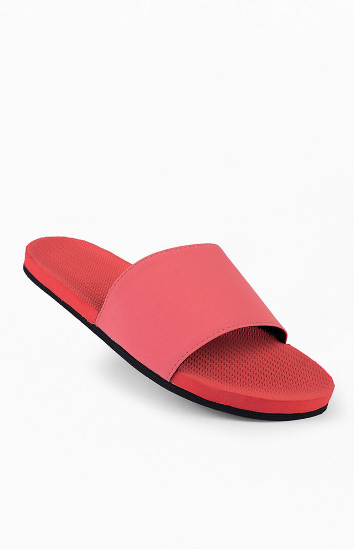 Red ESSNTLS Slide Sandals