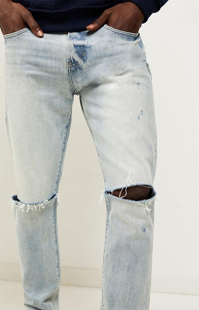 Light Ripped Slim Taper Jeans