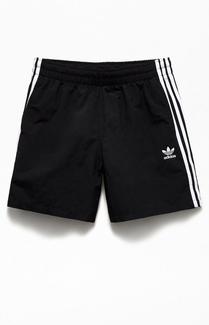 "Black 3-Stripes 16"" Swim Trunks"