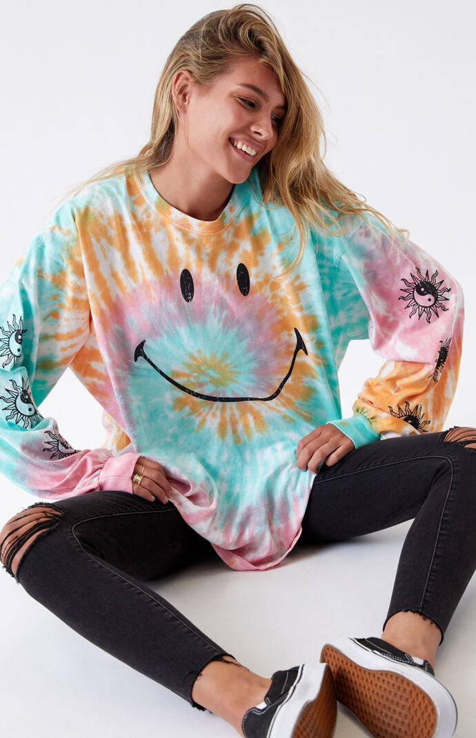 x Smiley Tie-Dyed Happy Hippie Long Sleeve T-Shirt