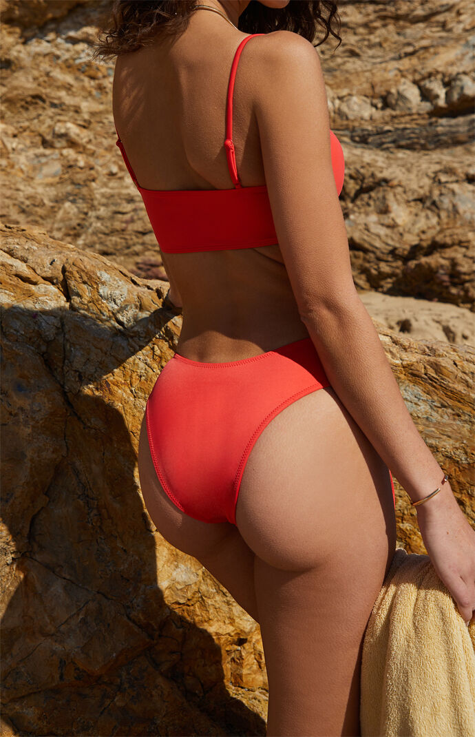 Eco Red Malibu Sporty Cinched Bikini Bottom