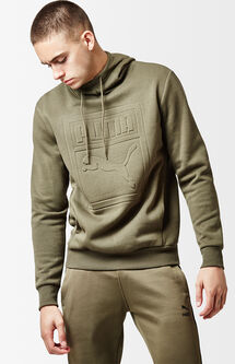 Archive Embossed Olive Pullover Hoodie